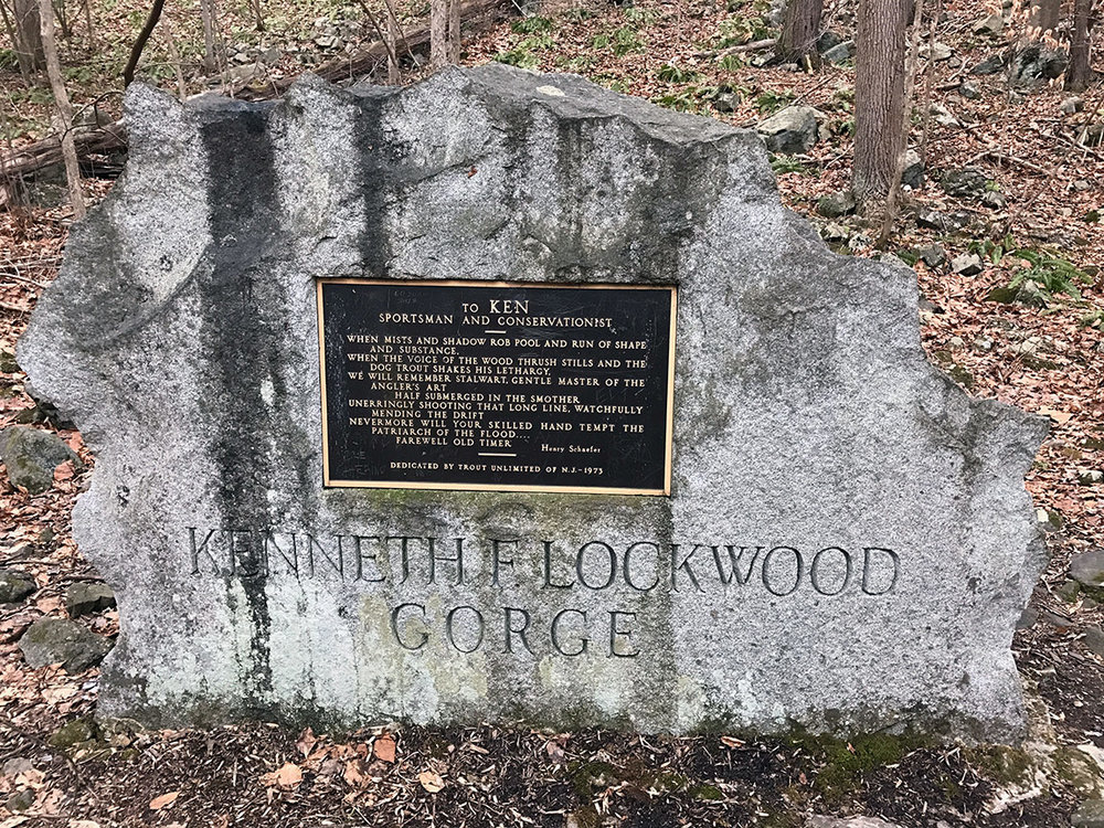 The memorial to Kenneth Lockwood which is located about half-way into the gorge.
