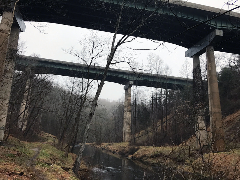 The Rt. 83 bridges ominously rising above the Gunpowder Falls River.
