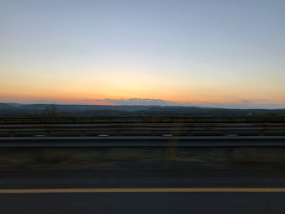 The sunset over the western Pennsylvania mountains on my drive home.