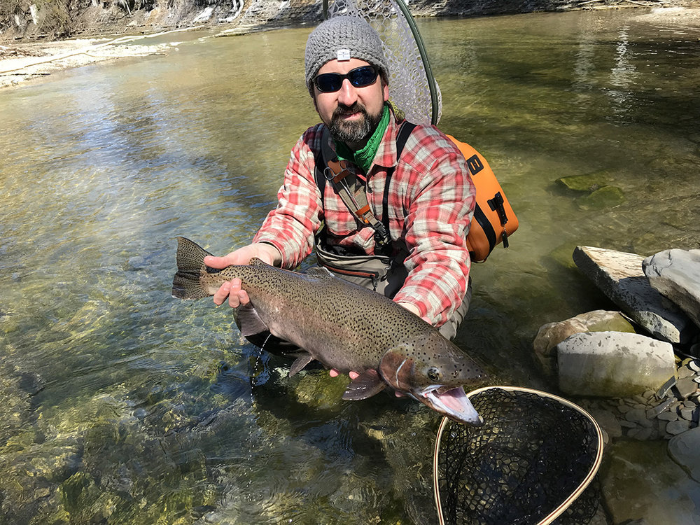 "The 27"" buck I caught on 20 Mile Creek on Sunday morning."