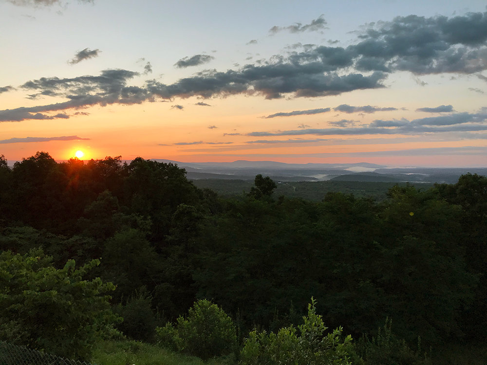 The summer sunrise over the Pennsylvania and Maryland border.