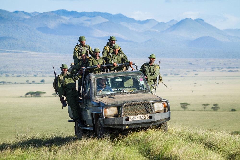 A patrol vehicle patrolling 1.6 million acre Amboseli Park, Kenya (Jeremy Gross/BLF)