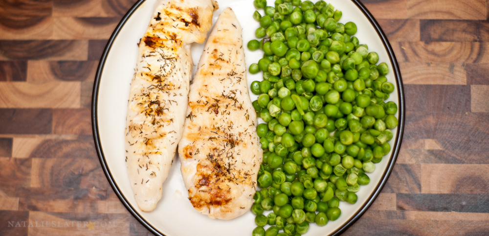 Dinner: Chicken and Peas.