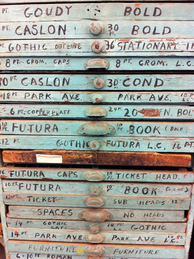 Box of letterpress letters
