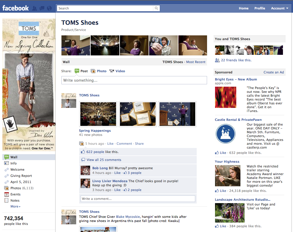 My photos on TOMS Shoes facebook page.