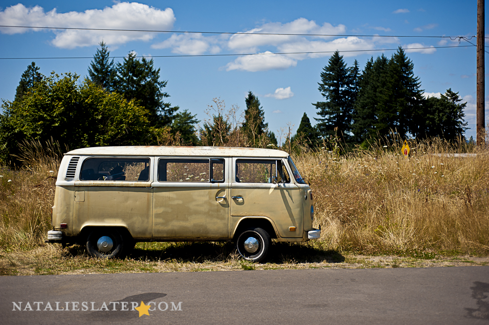 Tan VW between Porland and Medford, OR