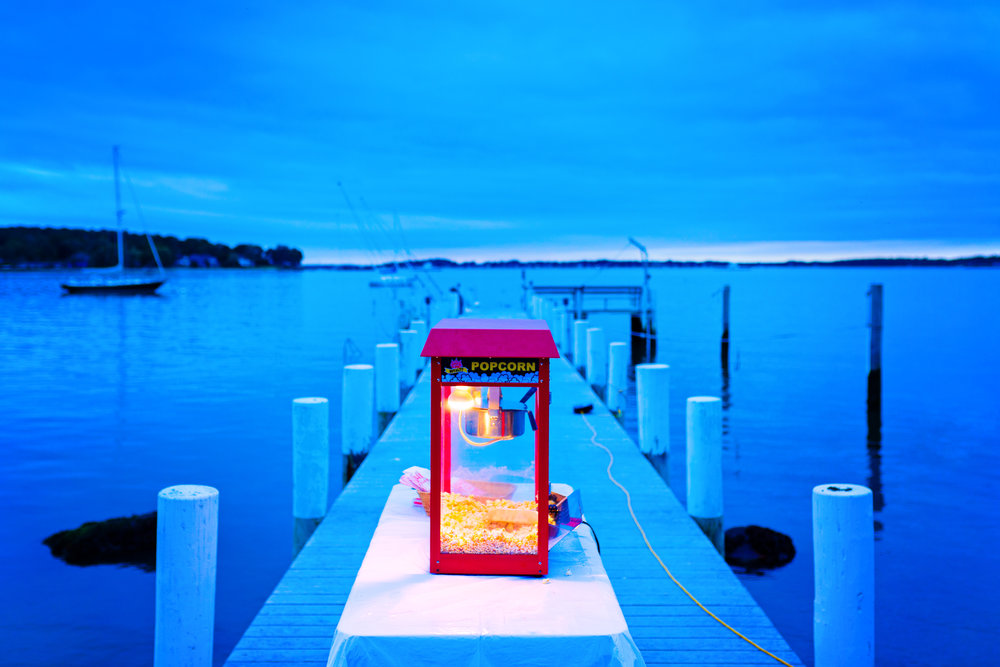 A cloudy, blue sunset and a red popcorn maker at the Modica family home on Shelter Island, NY.
