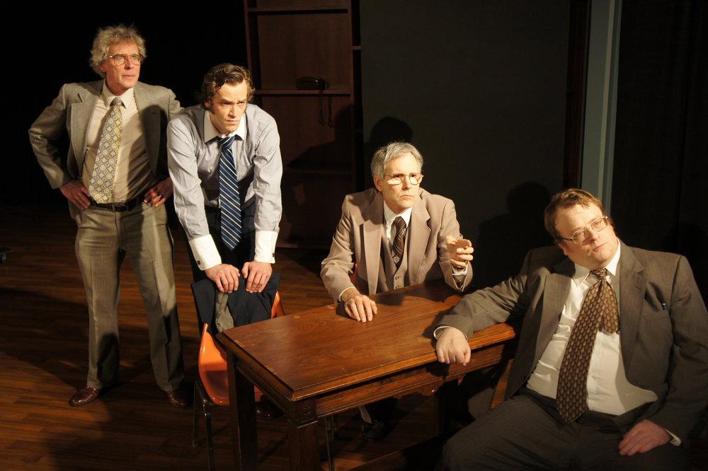 The Frost Team: Jim Reston (Mark Hansen), David Frost (Sean Lundberg), Bob Zelnick (Jeff Lee) and John Birt (Brian Bedard)