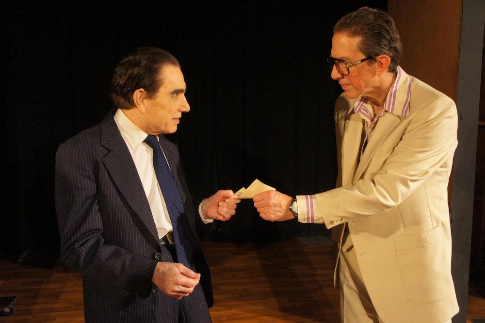 Richard M. Nixon (Larry Sinak) and Swifty Lazaar (Doug Petty)