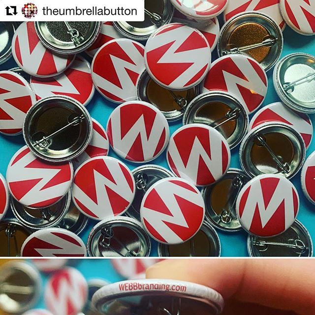 Fantastic work by Tulsa's @theumbrellabutton. Check out the edge detail. And it's great to see all the WEBB superheroes walking around SX! #sxsw #webbbranding #tulsaatsxsw #umbrellabutton #buttons #media #austin #sxsw2019 #buttons #marketing #branding #superherologo