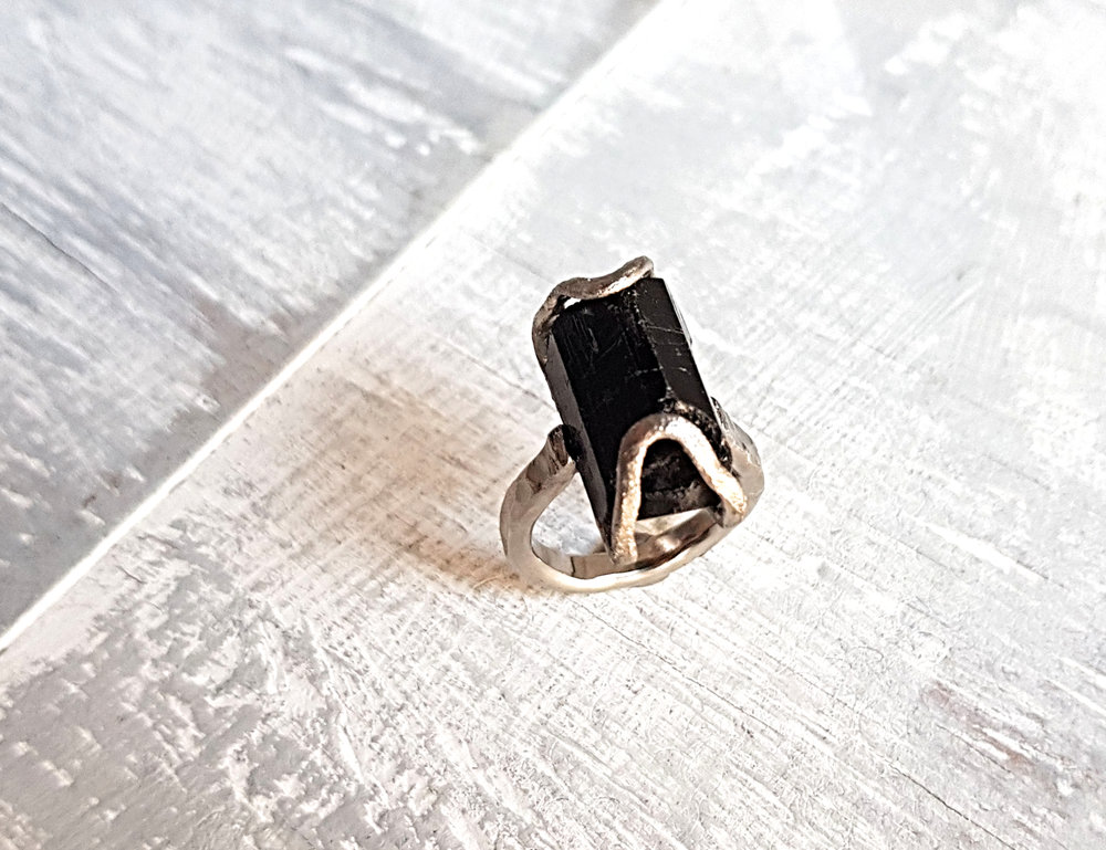 Zjena's engament ring   Palladium and rough black tourmaline in Rock Surface