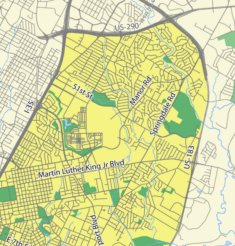 Map of East Austin, the focus of Naya's dissertation. Map by  Kaitlin Tasker