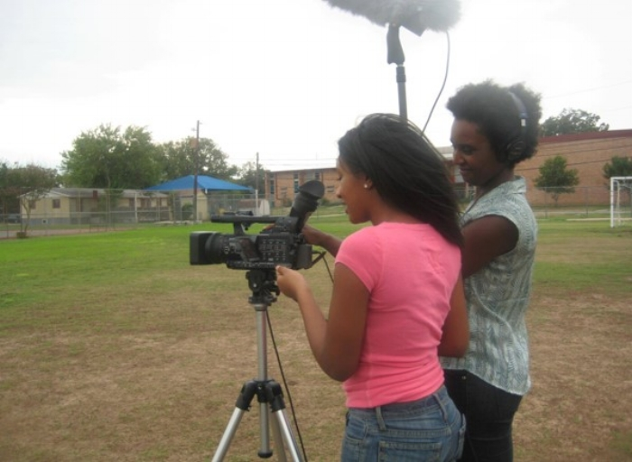 Filming as part of dissertation project. Pictured: K. Holman and filmmaker  Monique Walton