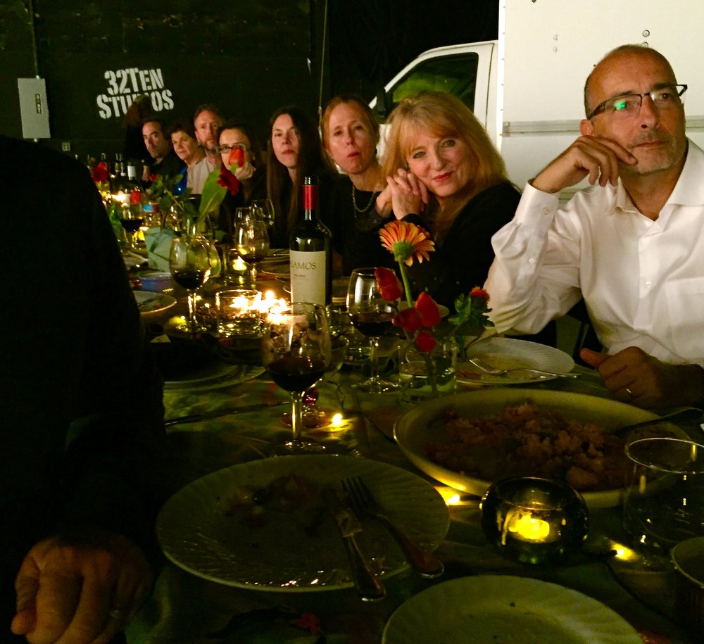 A filmmakers' soiree, a movable feast for Pacific filmmakers Forum/ Salon Dinner #95 co noted by Alexandra Lexton and Cari Boba October 22 2016 at 32Ten Studios in San Rafael. Filmmakers setting a dinner on a sound stage is as putting a brush in Van Gough's hands.