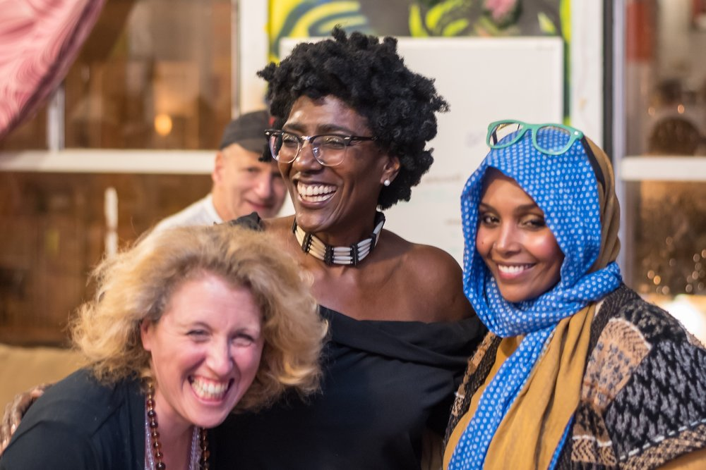 Asia Abdrahman mixed media artist with  National Writers Union's poet/ journalist Henry Millstein, Sarah Kornfeld (What Stella Sees) and September Williams (Chasing Mercury)