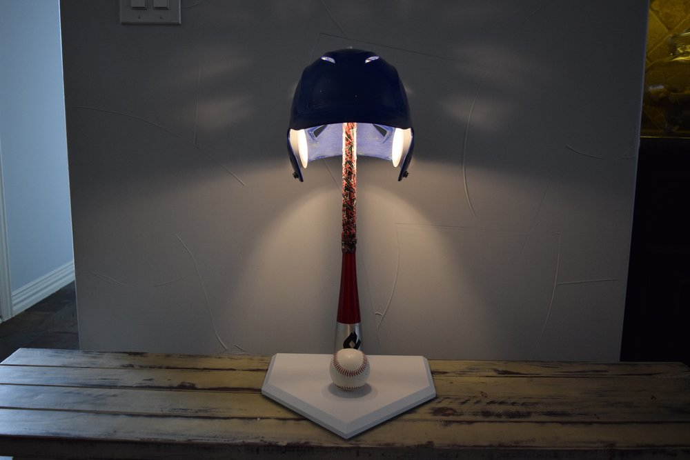 embrace the memories and pride from that gear by letting big league lighting convert it into a lamp for you office nightstand or den - Baseball Lamp