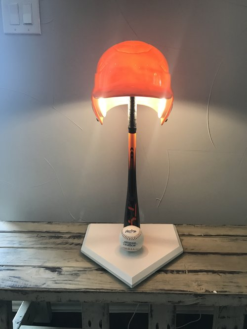 orange helmet baseball lamp - Baseball Lamp