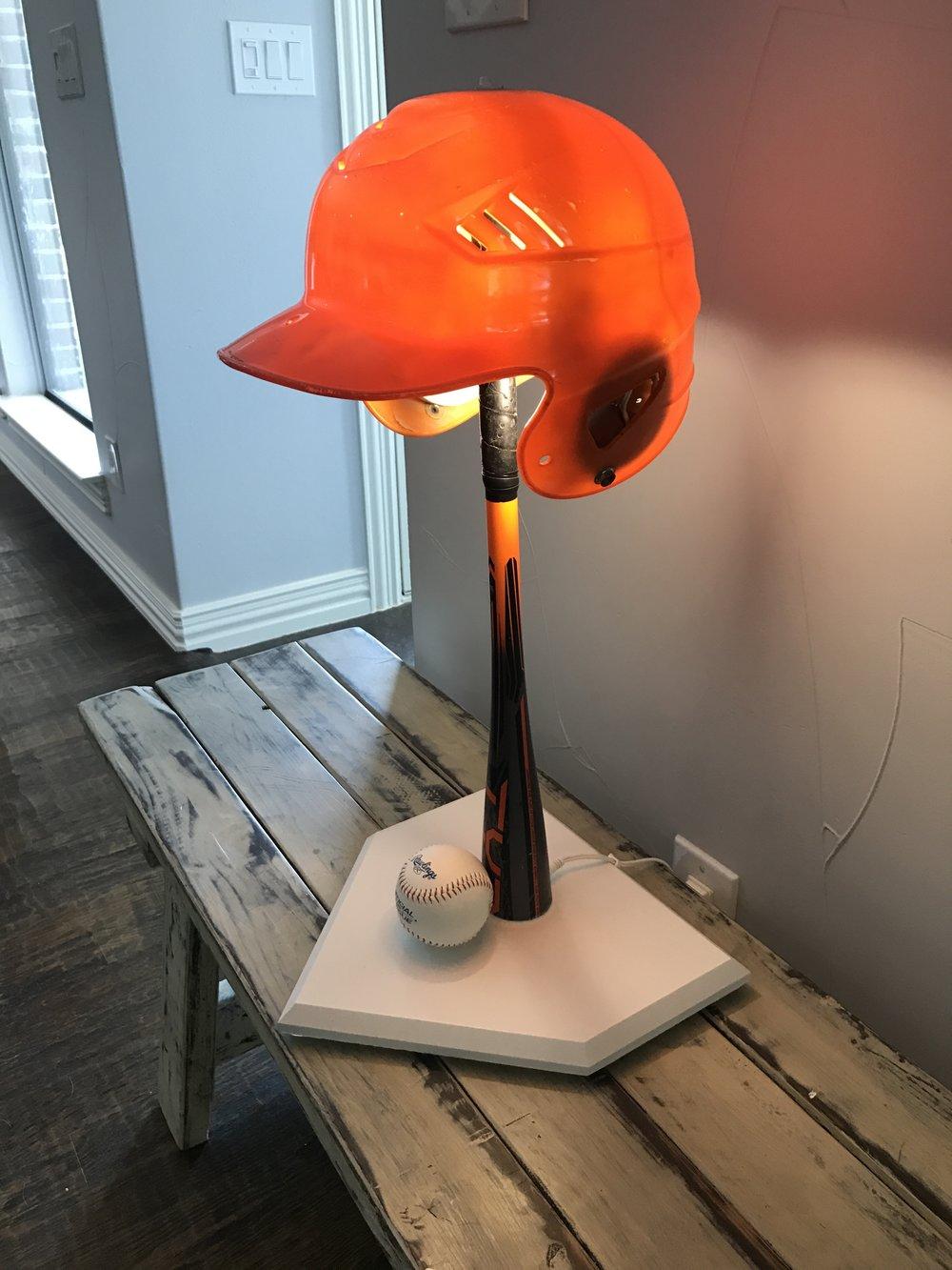 Orange Helmet Baseball Lamp