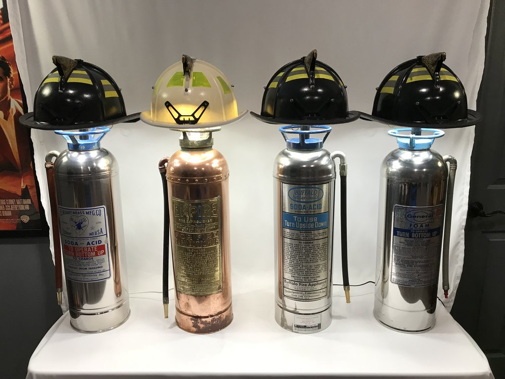Our Firefighter lamps are perfect for your firehouse. These four are in the lobby of firehouses of a suburb here in the Dallas area