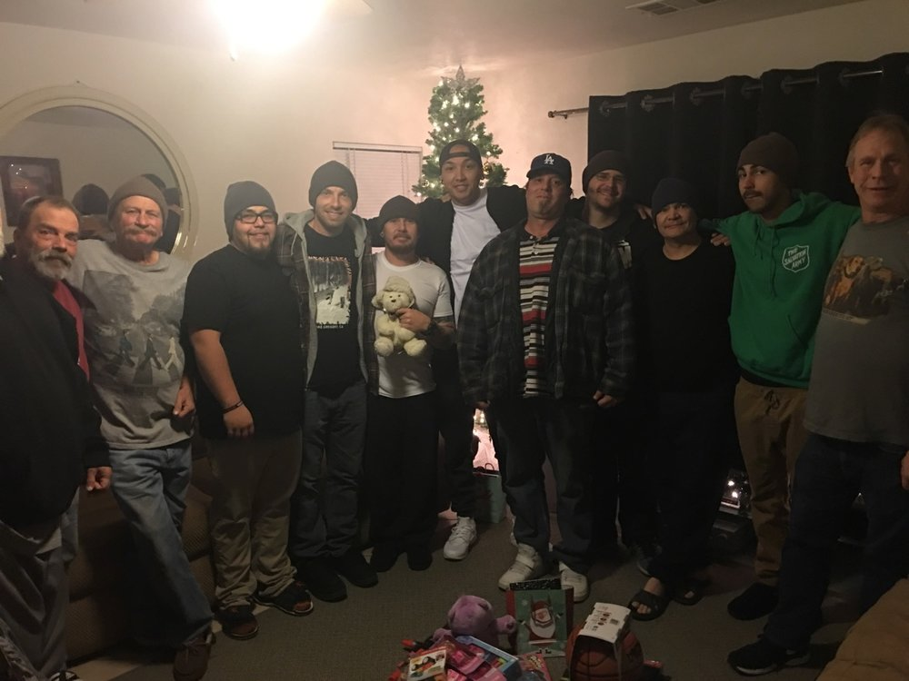 Chris and the men on Christmas Day