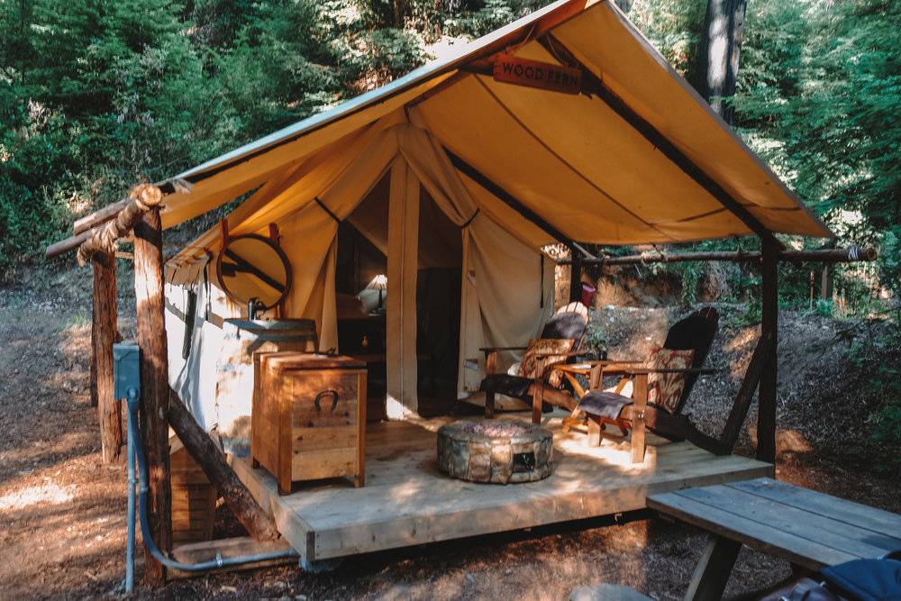 The cabins were all decked out with a large comfy bed, fresh linens, lights, electricity, a sink with running water, and to top it all off, a s'mores kit!