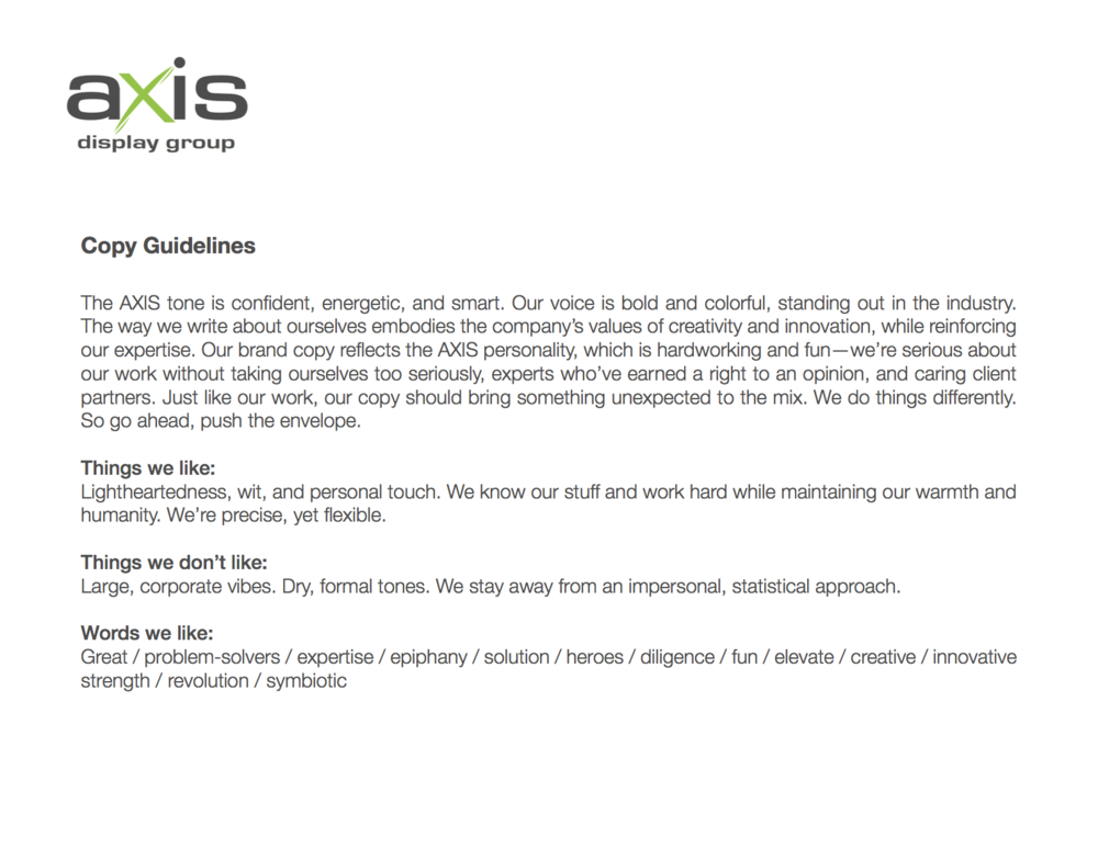 AXIS Copy Guidelines