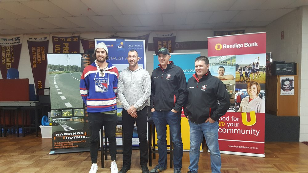 From left: Alex Pearce (Fremantle Football Club), Jamie Hayward (Premiership coach of Ulverstone Football Club), James Podsiadly (former Geelong Premiership player, Adelaide Crows player and assistance coach) and Scott Pearce (President of Ulverstone Football Club).