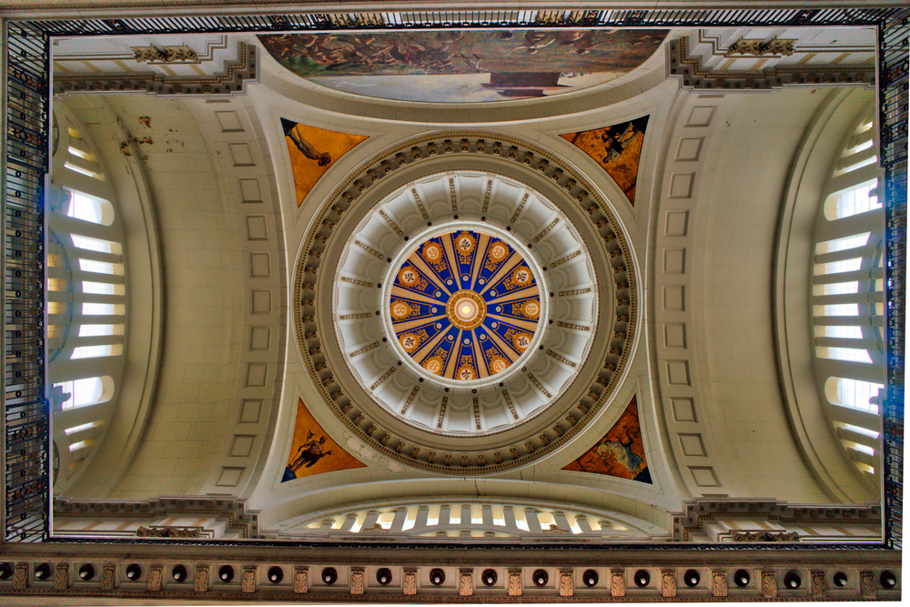 This is the ceiling immediately above you as you enter the Museum of the Revolution.