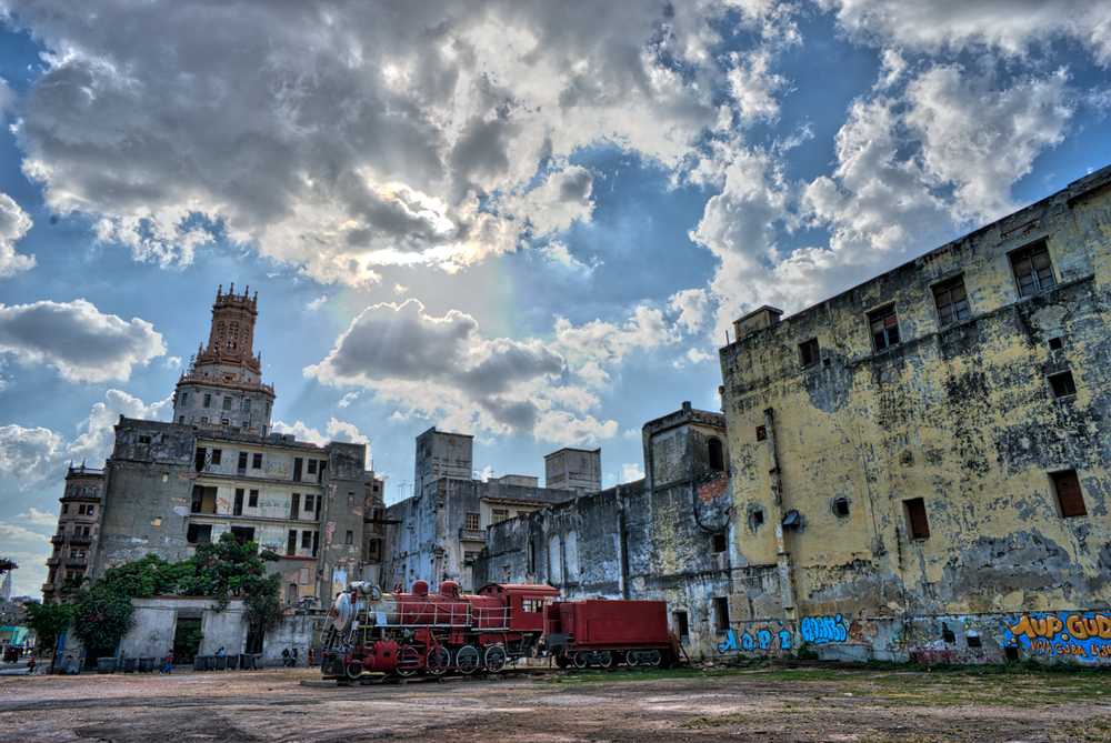 Abandoned locomotive steam engine train in Havana, Cuba.
