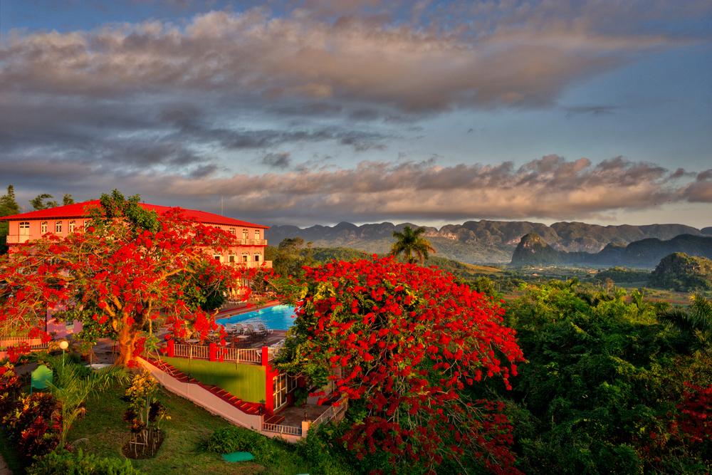Sunrise overlooking a hotel in Vinales, Cuba.