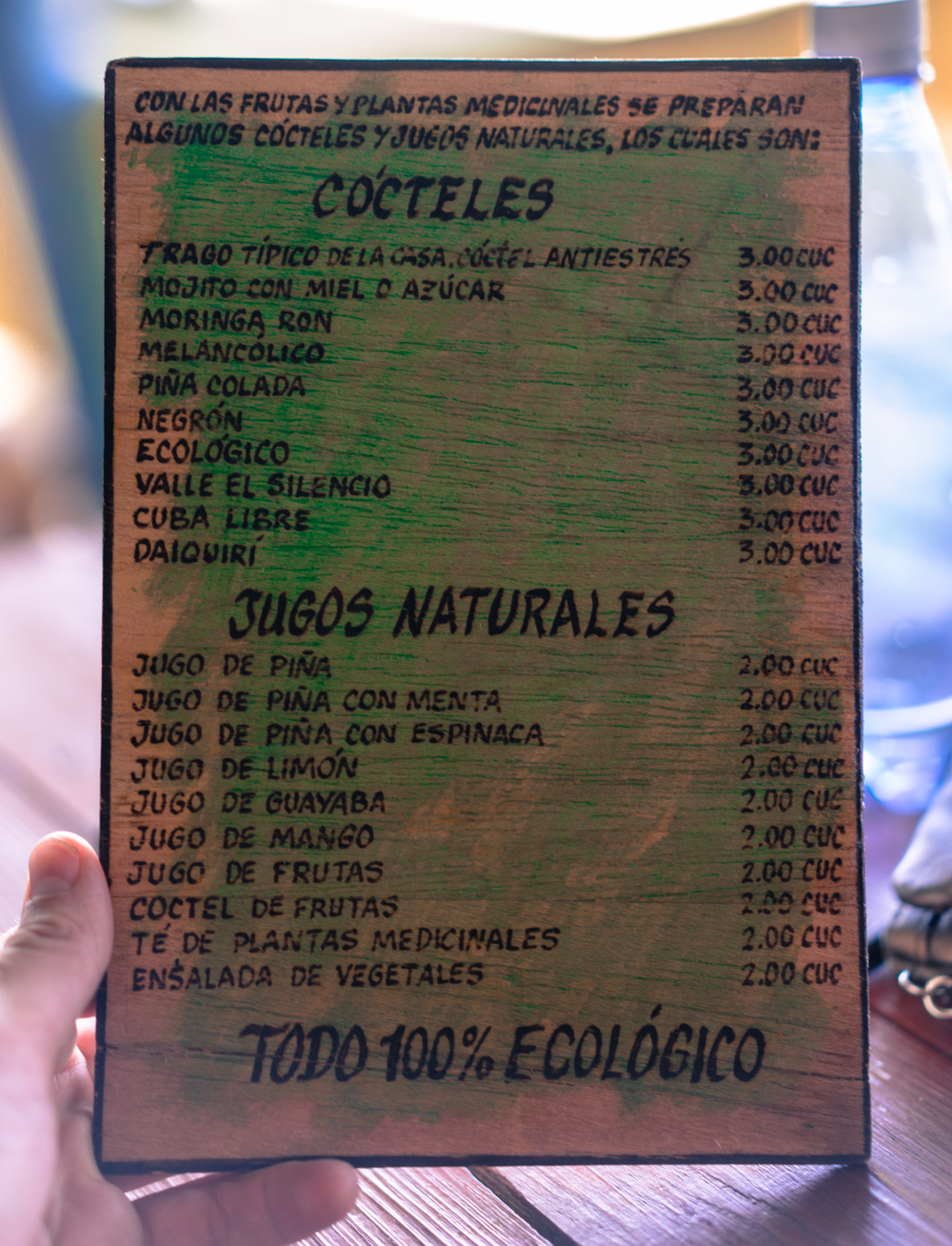 Drink menu at the farm. The 'anti-stress' cocktail was highly recommended and was served with a full bottle of Rum with which you could add however much you like to your drink.