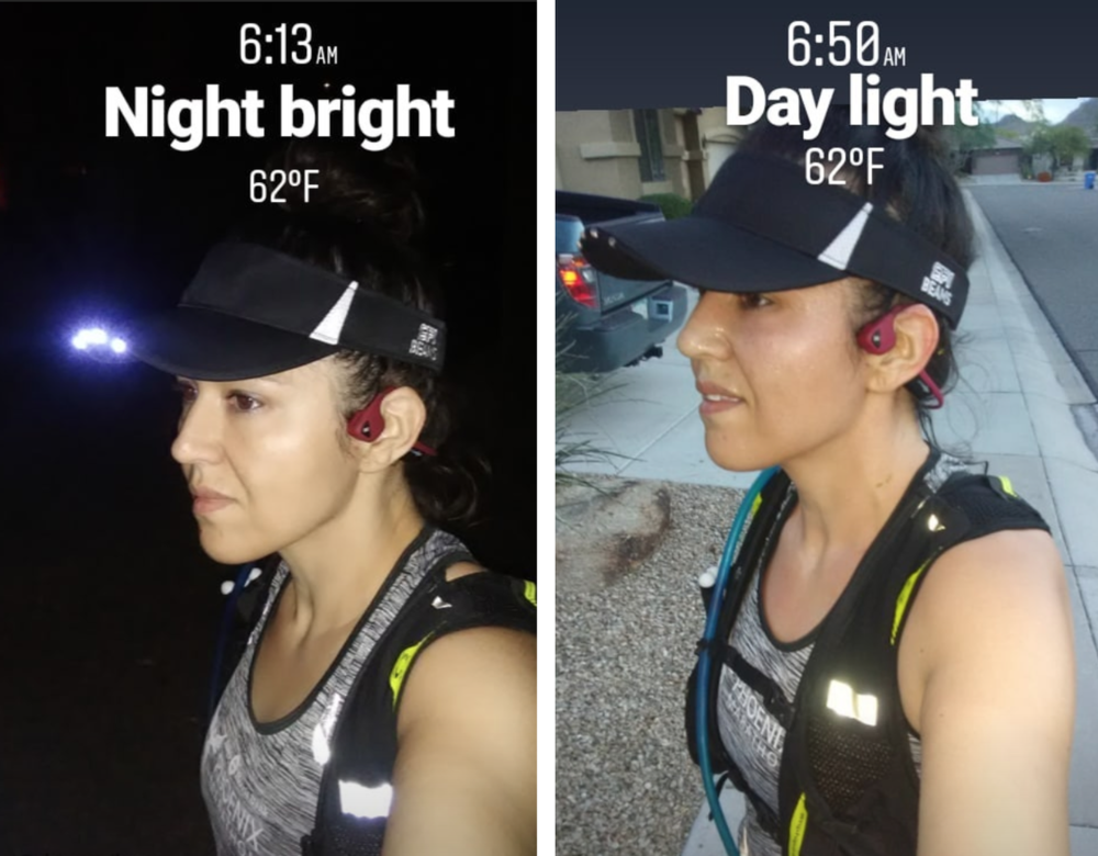 Morning runs now include the  @SPIBELT  Beams LED Visor. Light to brighten the sidewalk & the visor to protect my eyes during sunrise.
