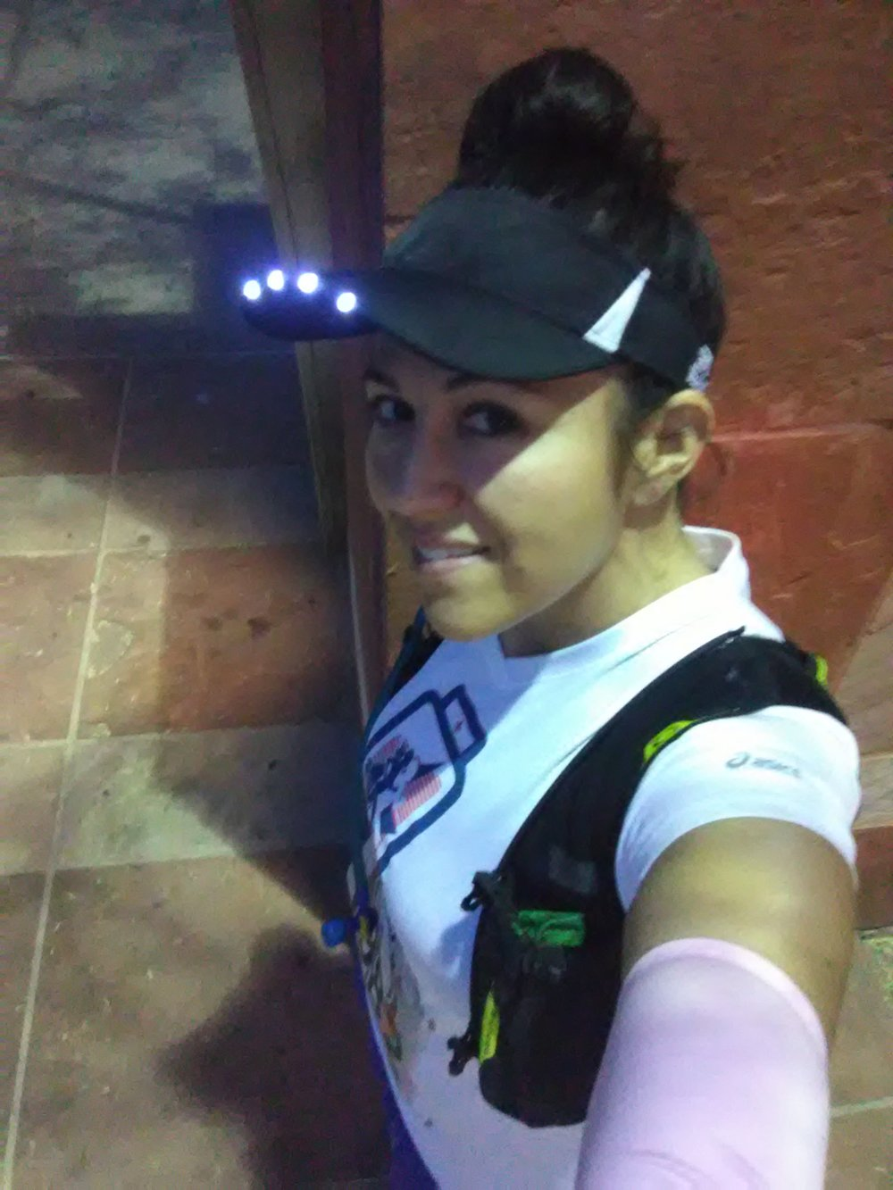 The startline was dark at the November 4, 2018 3TV  Phoenix Half Marathon . I came prepared to pace the 2:40 group with my  SPIbeams LED Visor .