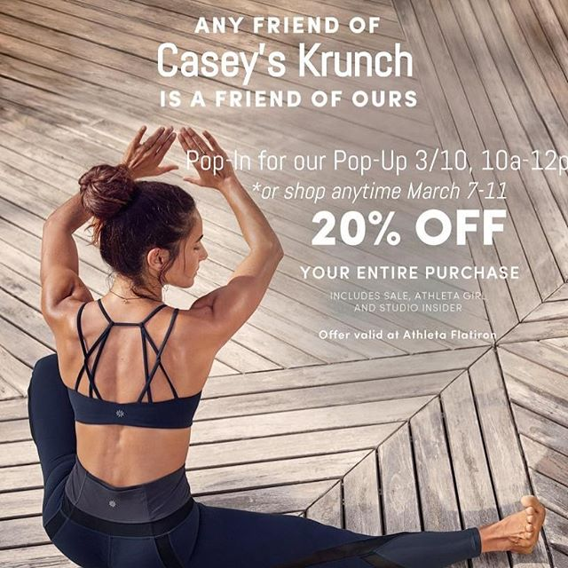 Friends tell friends about special deals! Come by @athleta in Flatiron tomorrow to get 20% off in store and grab a bag of the Krunch while shopping! Just mention you are a friend of Casey's Krunch. 🏃‍♀️👟💪🏻🧘‍♀️🏊🏻‍♀️🏋🏼‍♀️🤸🏼‍♀️🧗🏼‍♀️🚴🏼‍♀️❤️ #athleta #fitness #workout #fitnessfashion #workoutclothes #yoga #activelives #activelifestyle #free #discount #friendsandfamily #popup #gotrnyc #youngathletes #activegirls #keeponkrunching