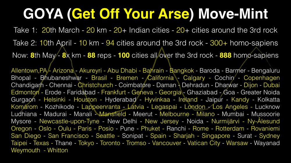 This started with one single Facebook message by friend. Now we are 100 cities in 2 months time. Just do your bit, move yourself, and make another one move with you too.