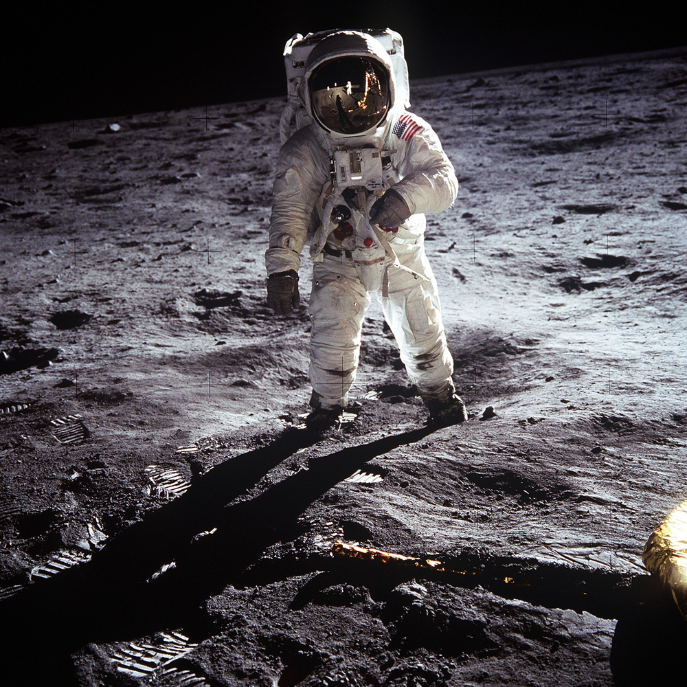 Aldrin on Moon. Armstrong is the one taking the pic. (Pic source:https://upload.wikimedia.org/wikipedia/commons/9/9c/Aldrin_Apollo_11.jpg)