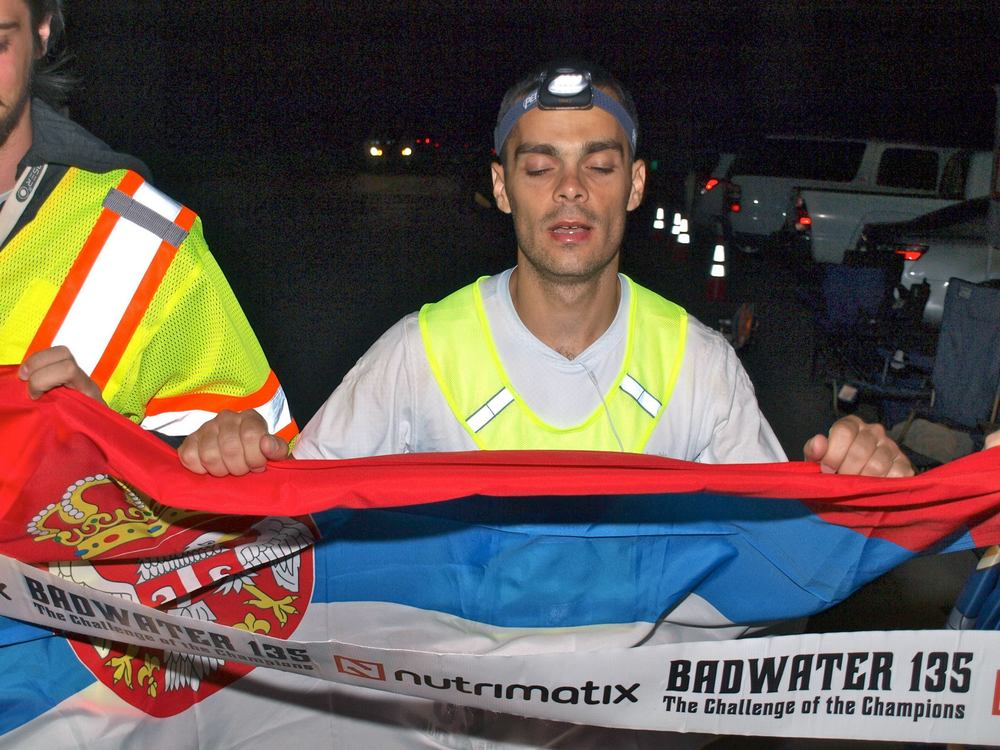 Jovica finishing Badwater in 29 hrs. He has run 701 km at 6 day Athens ultrarunning Festival, 682 km at another 6 day race, has run six 24 hour races, with maximum distance of 222 km, Sahara Race Egypt, Ultra-Milano Sanremo, numerous 100 kms, 100 miles & 48 hour races.