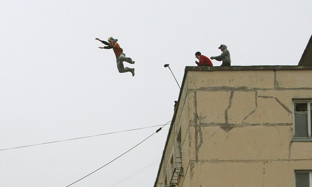 This Russian girl actually died in a parkour jump gone horribly wrong, falling 17 storeys down. Source: Daily Mail, UK