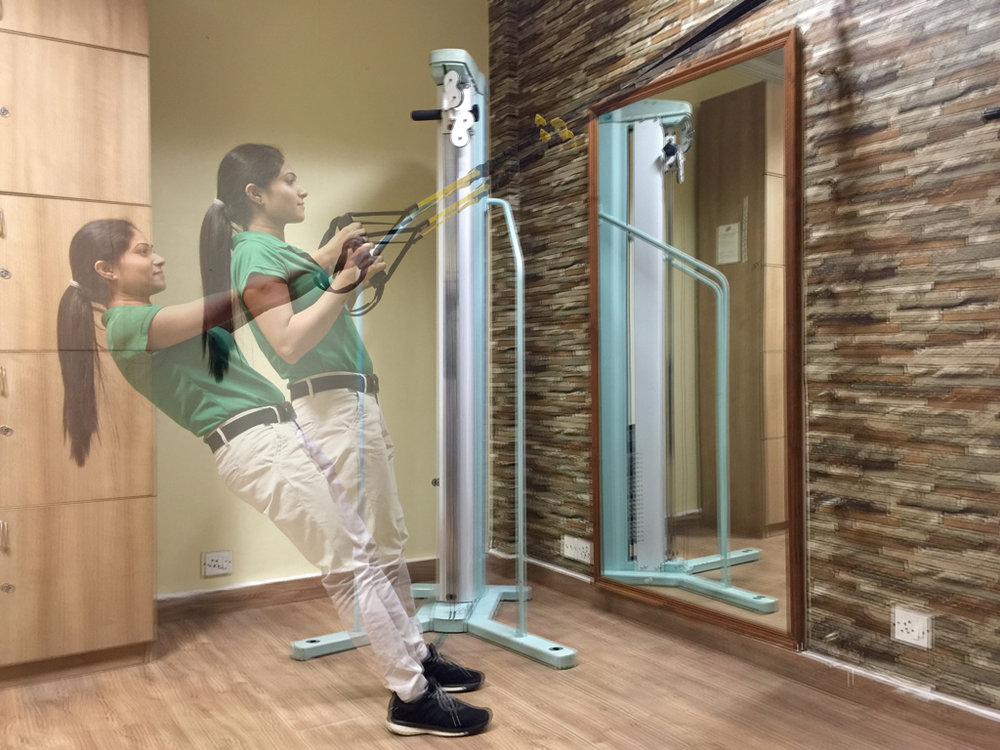 TRX kind of exercise-bands are not used enough. They are simply outstanding. Ritika, Sports-Exercise & Musculo-Skeletal Physiotherapist, demonstrates how to exercise with TRX.
