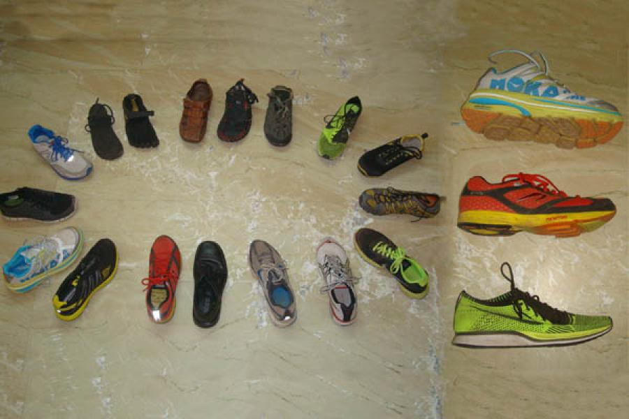 Left: Some of my running shoes, ranging from Huarache sandals (6 mm sole thickness), Vibram Five Finger (4 mm sole thickness), Hoka OneOne (60 mm sole thickness) to my leather formal Ecco shoes (30 mm sole sickness). Right: Comparing sole thickness and design of Hoka OneOne, Newton Gravity and Nike Flyknit Racer.