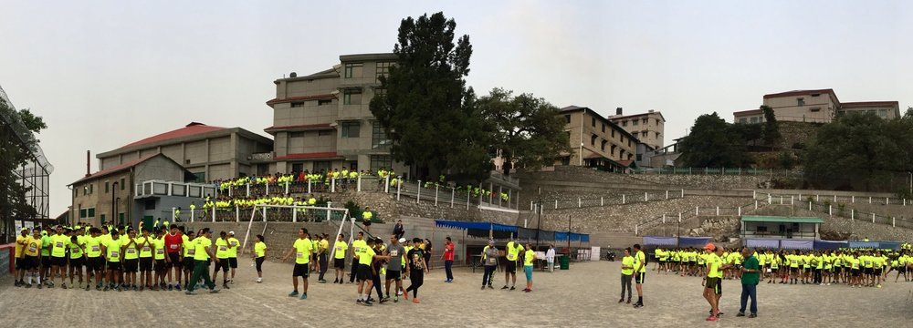 Before the start of 2017 edition of Wynberg-Allen School Half Marathon (5km, 10km & 21km) at Allen flats, Mussoorie.