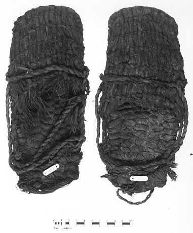 Sagebrush bark sandals, in 1938 were excavated by archaeologist Luther Cressman (  University of Oregon ) at Fort Rock Cave, a volcanic crater in central Oregon. They radiocarbon dated from 10,500-9,300 years old. (source:  University of Oregon )