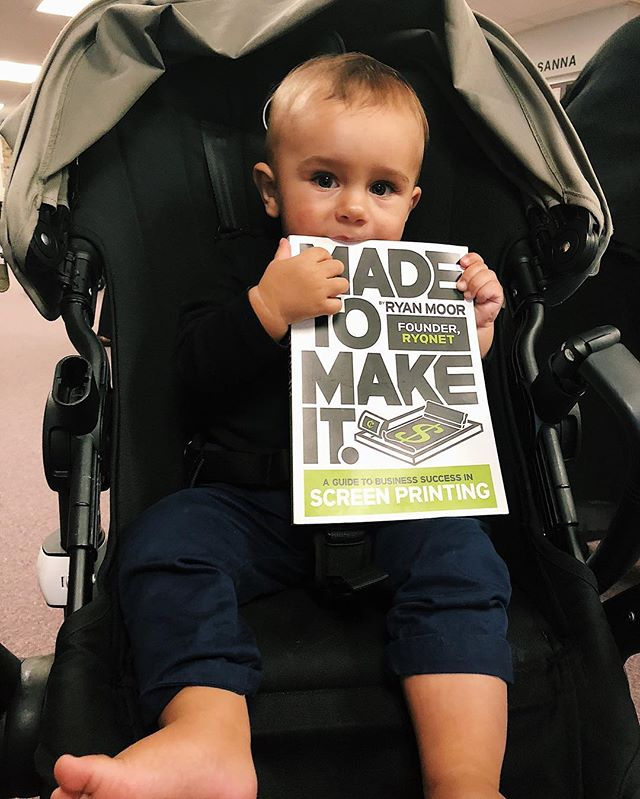 future screen printer? this boy grabbed this book, had to snap a photo! 😂 #printlife