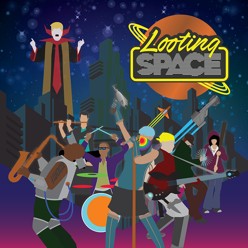 LOOTING SPACE: an electronic-infused collective that lives in the future. Both vocal and instrumental. The self-titled ambient rock, funk, and pop opera is NOW AVAILABLE. It follows the Looting Space characters through post-apocalyptic adventure full of exploration, heartache, battle, and, ultimately, celebration. Musicians include Dudley Owens (tenor sax), Molly Marx (vocals), Evan Schwam (flute), Orion Turre (drums, synths, & vocals), Chris Lammers (drums) and Produced by Aaron Immanuel Wright (bass, guitars, keyboards, & vocals) along with Molly Marx.