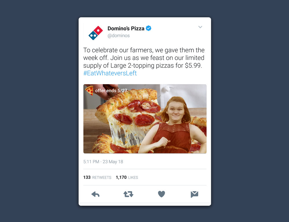 domino's tweet mockup