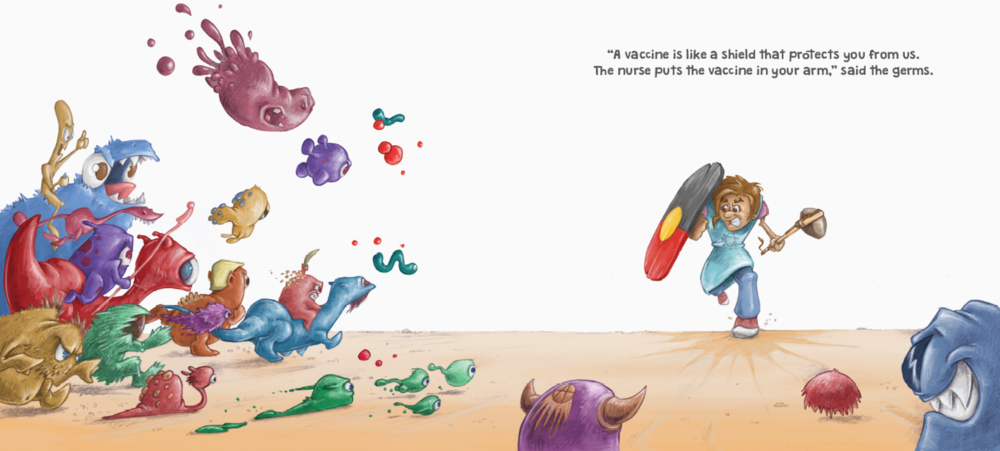 A YARN ABOUT GERMS (double page spread) photoshop