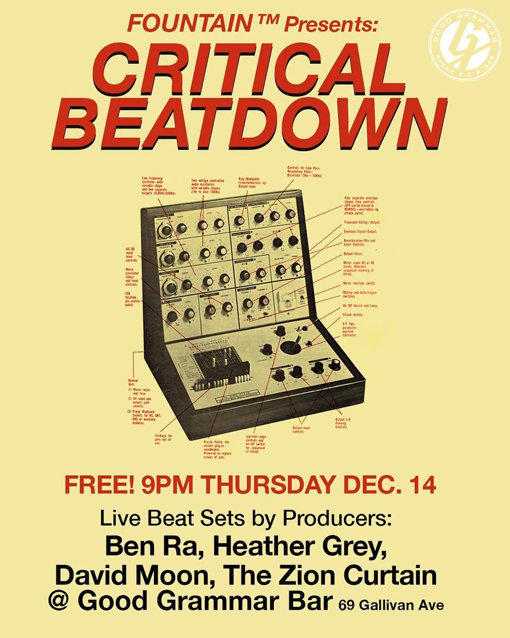 Live beat sets by Producers Ben Ra + Heather Gray + David Moon + The Zion Curtain FREE at Good Grammar Bar 69 Gallivan Ave SLC 21+