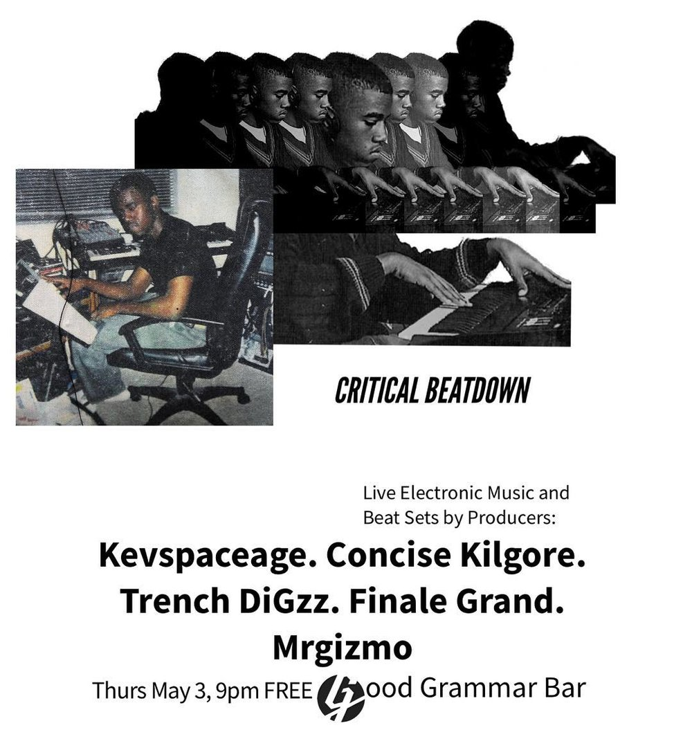 """Mark your calendar. May 3 @criticalbeatdown801 returns. Featuring the icon @ckg_007 playing beats he's been making for his """"Prom Ride"""" tape. The lo-fi legend @kevspaceage is flying into town to get down. The ever elusive illuminati dodgin Trench Digz (no social media) makes is debut. And the multi talented @mrgzmo ! I'll probably play some new stuff as well. 9pm on the dot at @goodgrammarbar 69 Gallivan Ave SLC UT"""