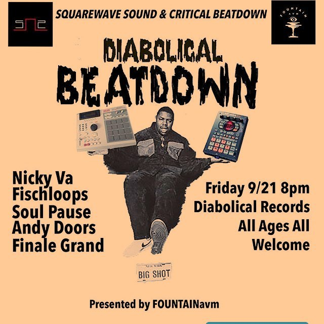 @criticalbeatdown801 + @squarewave.sound + @diabolicalslc = DIABOLICAL BEATDOWN Fri. 9/21  Live Beat sets from producers: @soul___pause @fischloops @_nickyva_ @finalegrand AndyDoors @heavyypetting 8pm...Edison St. will be going off! Gallery Stroll too