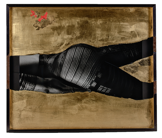 3 brothers , 3 bodies , 3 landscapes   Triptych 2018 61 x 71 x 6 cm each  hand-printed fibre-based traditional photo print, imitation gold leaf, paint, glass + wood.